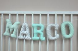 Literki z materiału np. Marco 16 cm