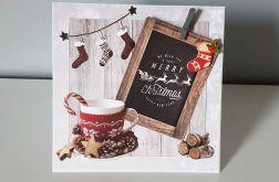 Kartka Boże Narodzenie handmade filiżanka