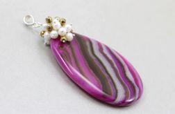 Agat różowy perły hematyt i srebro - wisior