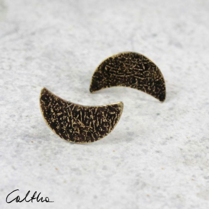 Księżyce - kolczyki sztyfty 201204-10 - Kolczyki w kolorze złota