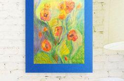 Rysunek kwiaty granatowym tle szkic nr 9