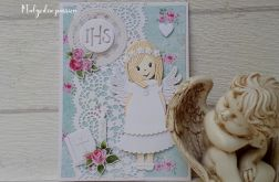 Kartka komunijna z aniołkiem