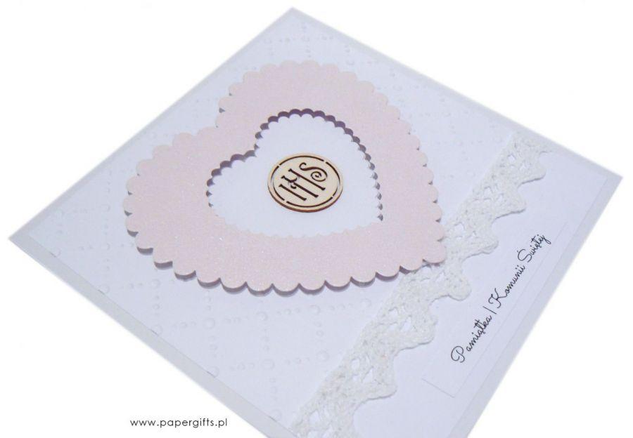 Pamiątka Komunii Św. różowe serce IHS - Kartka na komunię dla dziewczynki