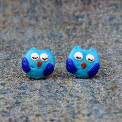 Kolczyki Sówki niebieskie