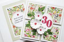 Kartka URODZINOWA z białymi kwiatami #1