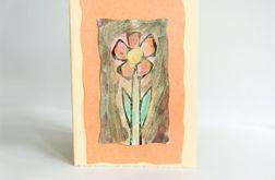 Kartka uniwersalna kremowa z kwiatkiem 9