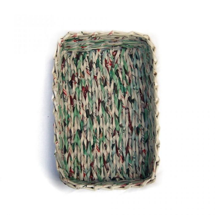 Koszyk prostokątny z turkusem - turkusowy kosz