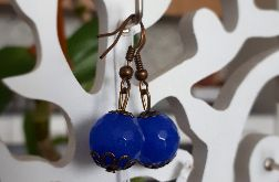 Kolczyki handmade granatowe