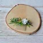 Kwiatowy grzebyk do włosów biało zielony