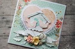 Kartka ślubna - zakochane ptaszki (II)