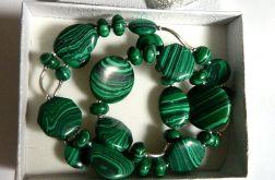 Malachit zielony, naszyjnik, srebro