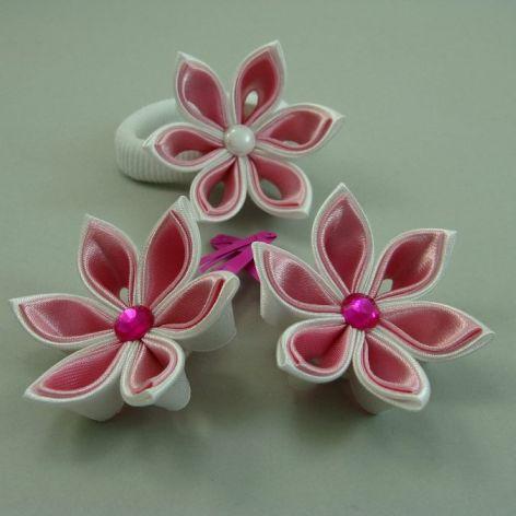 biel,róż - frotka i 2 spinki