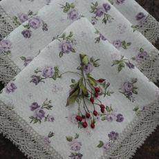 Serweta różyczki fioletowe