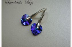 Kolczyki Swarovski Elements Heart 10mm Heliotrope