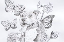 """Kolaż tuszem pies """"Łapię motyle"""""""