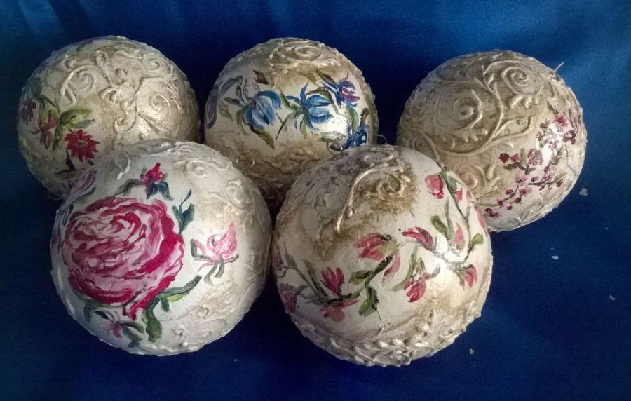 Bombka Malowana Kwiaty Niepowtarzalna 12 cm