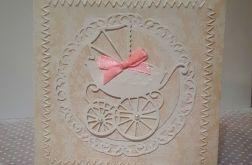 Kartka na Chrzest Narodziny handmade wózek