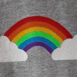 Koszulka ręcznie malowana tęcza vintage