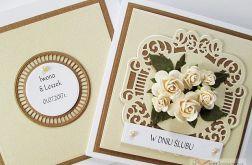 Kartka W DNIU ŚLUBU z kremowymi różami