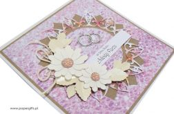 Kartka ślubna białe kwiaty na wrzosowym tle