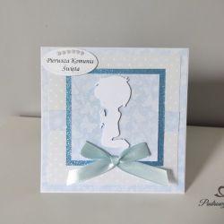 Kartka Komunia Święta dla chłopca niebieska