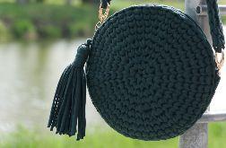 Okrągła torebka ze sznurka butelkowa zieleń