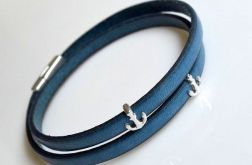 Bransoletka turquoise blue leather+anchor