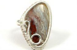 Srebrny regulowany pierścionek z agatem crazy