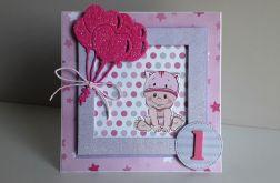 Kartka na Roczek dla dziewczynki kotek różówa