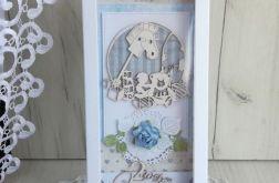 Kartka 3D chrzest 2 urodziny niebieska