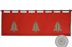 lambrekin świąteczny z choinkami w kratę