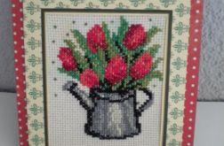 Tulipany w konewce- kartka