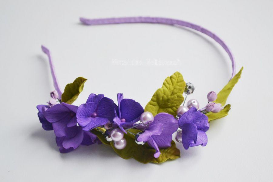 Opaska do włosów - fioletowe kwiaty