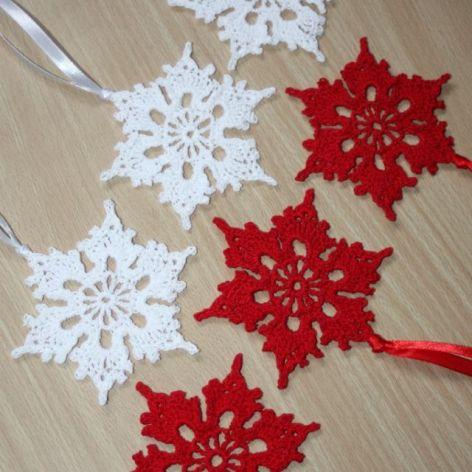 Szydełkowe śnieżynki x 6, świąteczne ozdoby