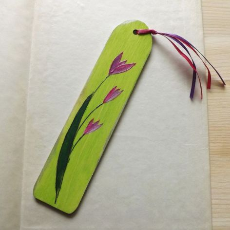 Zakładki malowane - Kwiaty w zieleni 3