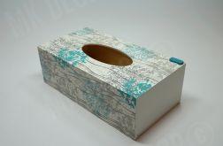 Pudełko prostokątne na chusteczki kwiaty