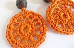 Kolczyki wiszące koła ażurowe - pomarańcz i brąz