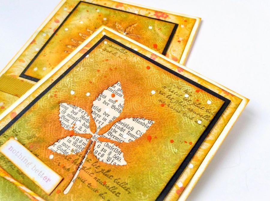 Kartka z jesiennym liściem - kartka z liściem