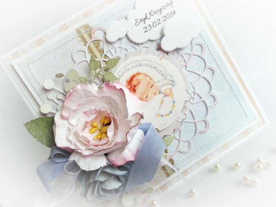Delikatna kartka na chrzest w pudełku (WZÓR)