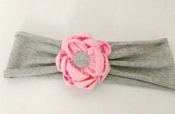 Opaska do włosów z kwiatem kanzashi ró