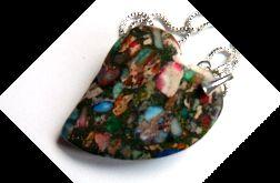 Jaspis centkowany-kolorowe serce na łańcuszku