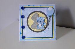 Kartka na Roczek kotek niebieski