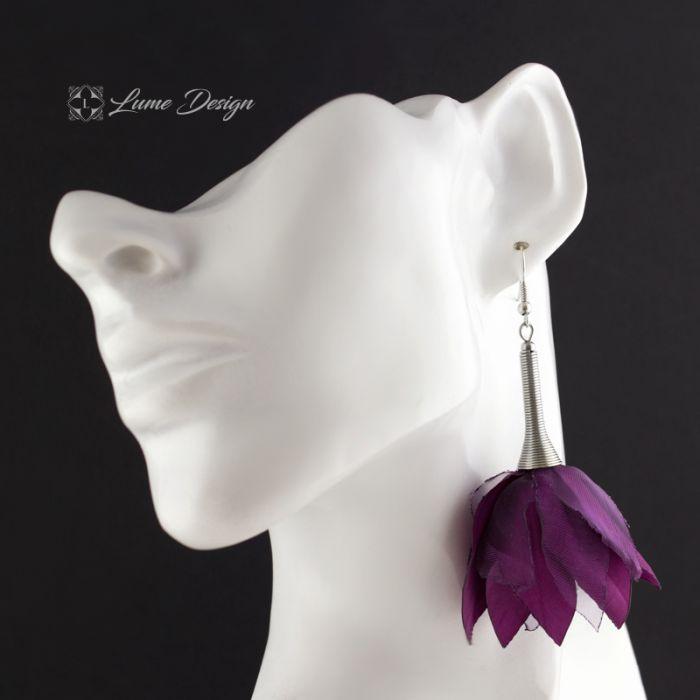 Kolczyki Silk śliwkowe kwiaty