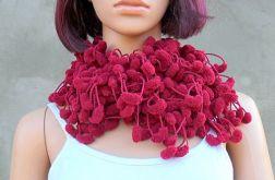 pom-pom scarf - w odcieniu czerwonego wina