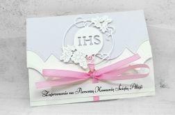 Zaproszenie na komunię dla dziewczynki z różową wstążką ZKS 010