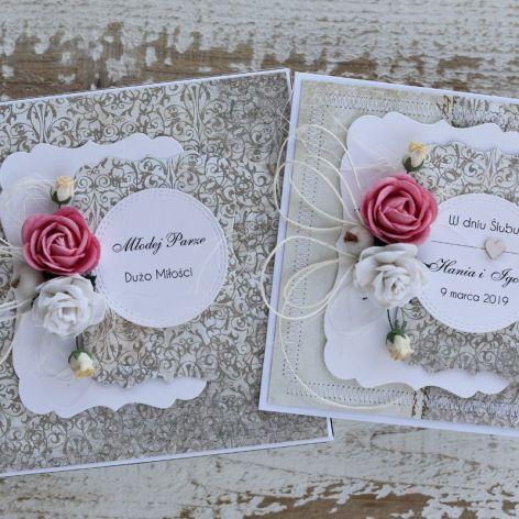 Kwiatowa kartka ślubna z pudełkiem A54