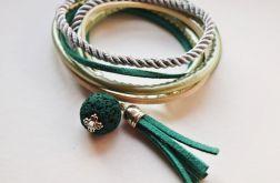 bransoletka rzemień zielono-kremowa
