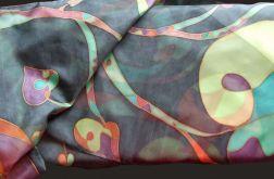 Kolorowy Roślinny jedwabny szal
