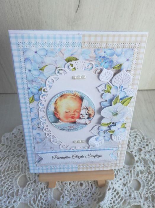 Kartka z dzidziusiem Chrzest niebieska GOTOWA