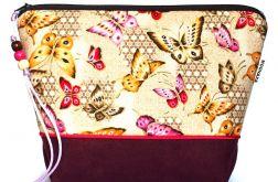 kosmetyczka - złocone motyle - bakłażan L